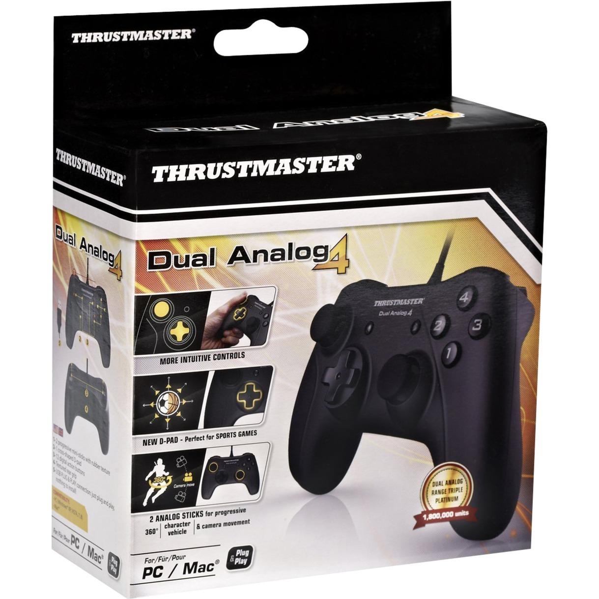 Dual Analog 4 Palanca de mando PC Negro, Gamepad