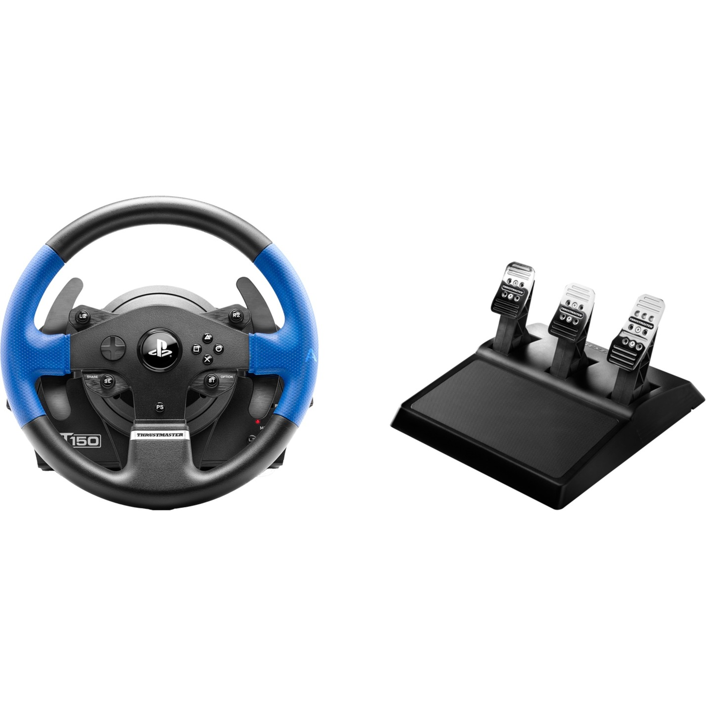 T150 PRO ForceFeedback Volante + Pedales PC, PlayStation 4, Playstation 3 Negro, Azul