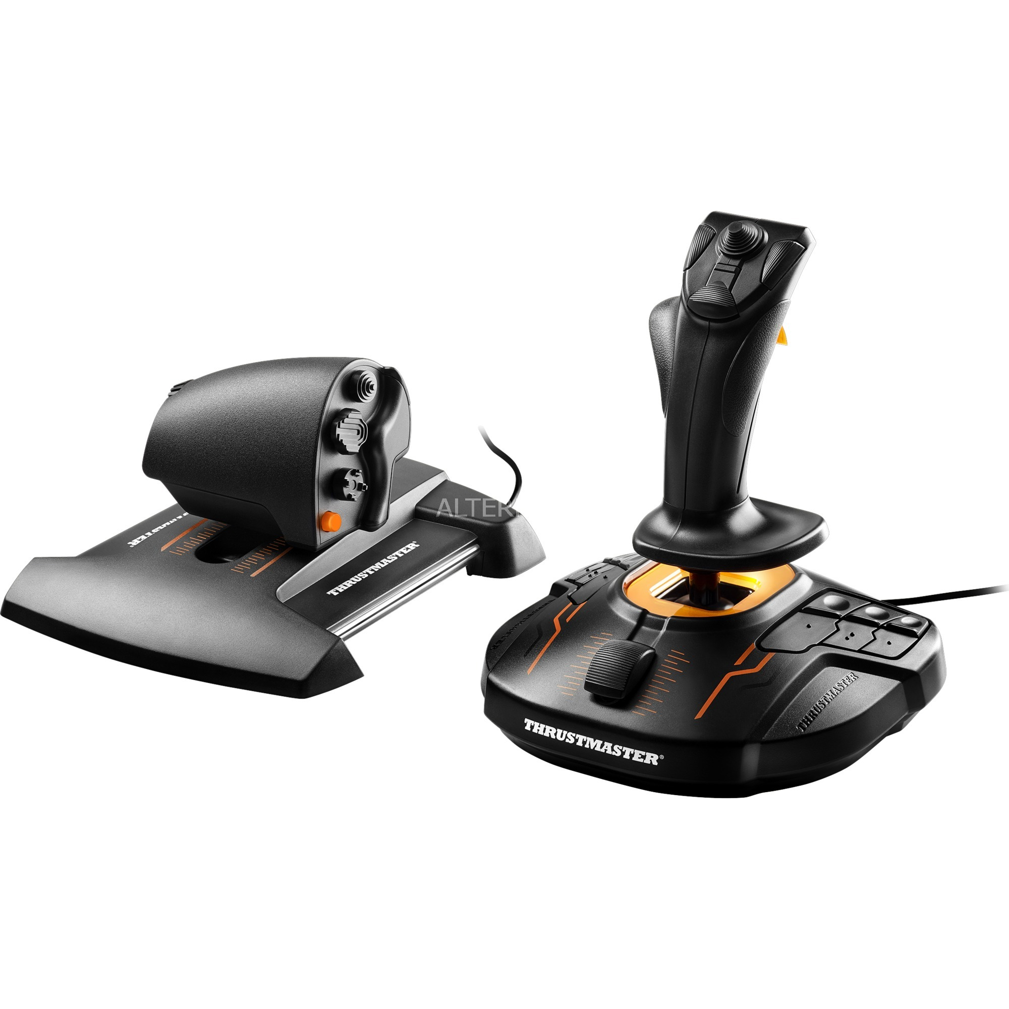 T.16000M FCS Hotas Palanca de mando Mac,PC Negro, Naranja, Hotas (mando más palanca de control)