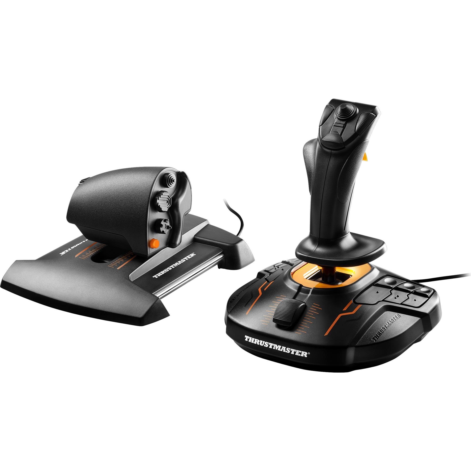T.16000M FCS Hotas Palanca de mando Mac, PC Negro, Naranja, Hotas (mando más palanca de control)