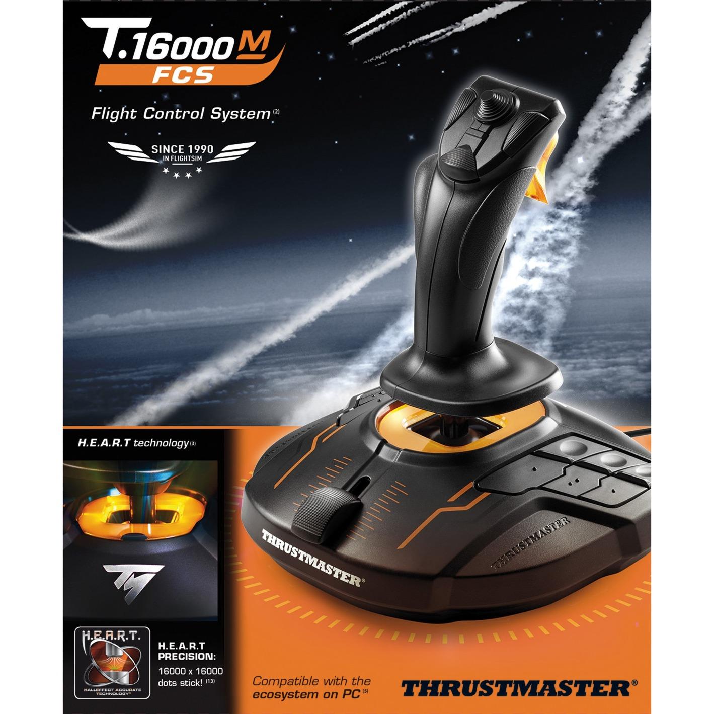 T-16000M FC S Palanca de mando PC Analógico/Digital USB Negro, Naranja