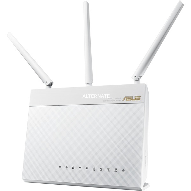 RT-AC68U router inalámbrico Doble banda (2,4 GHz / 5 GHz) Gigabit Ethernet Blanco