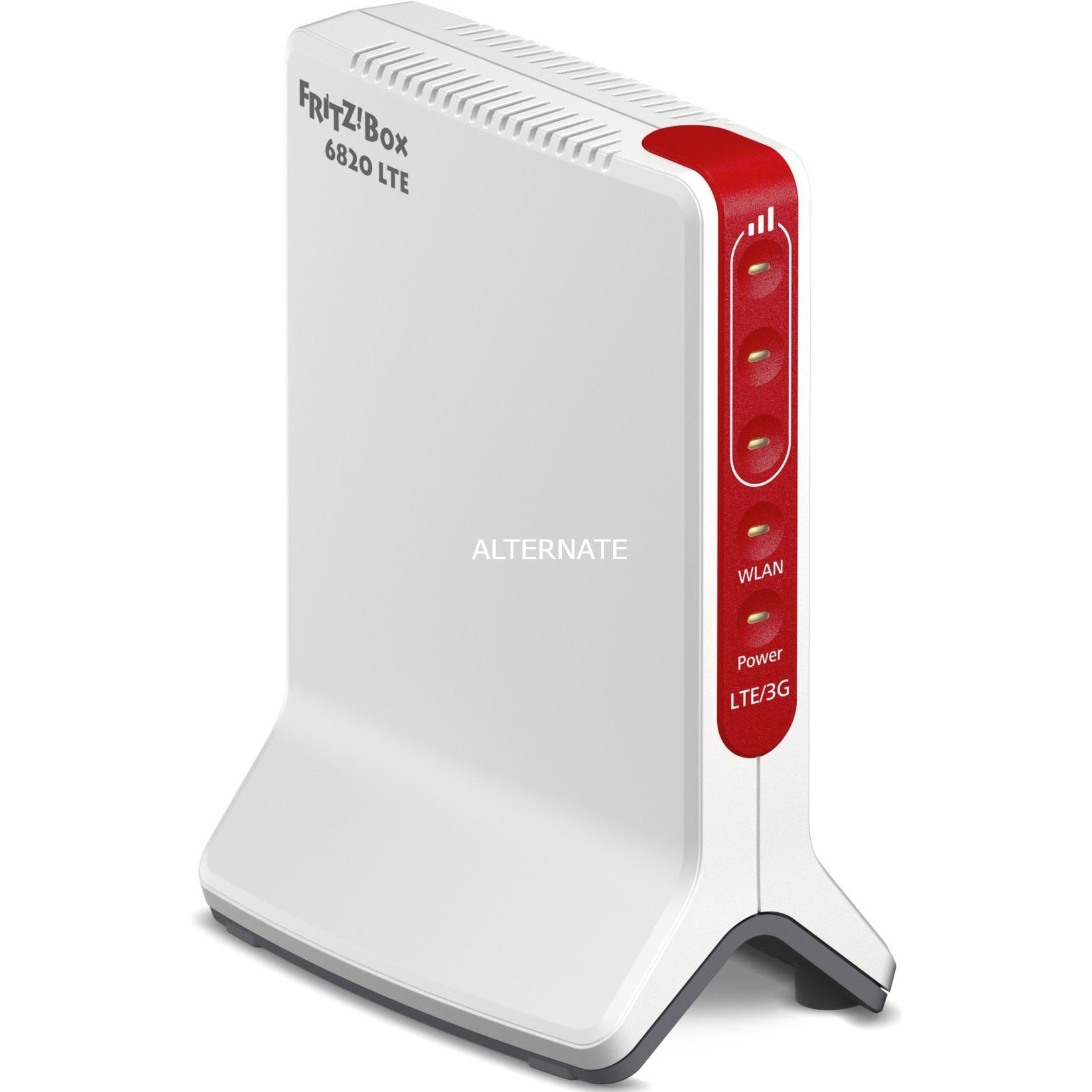 FRITZ!Box 6820 LTE router inalámbrico Banda única (2,4 GHz) Gigabit Ethernet 3G 4G Rojo, Blanco