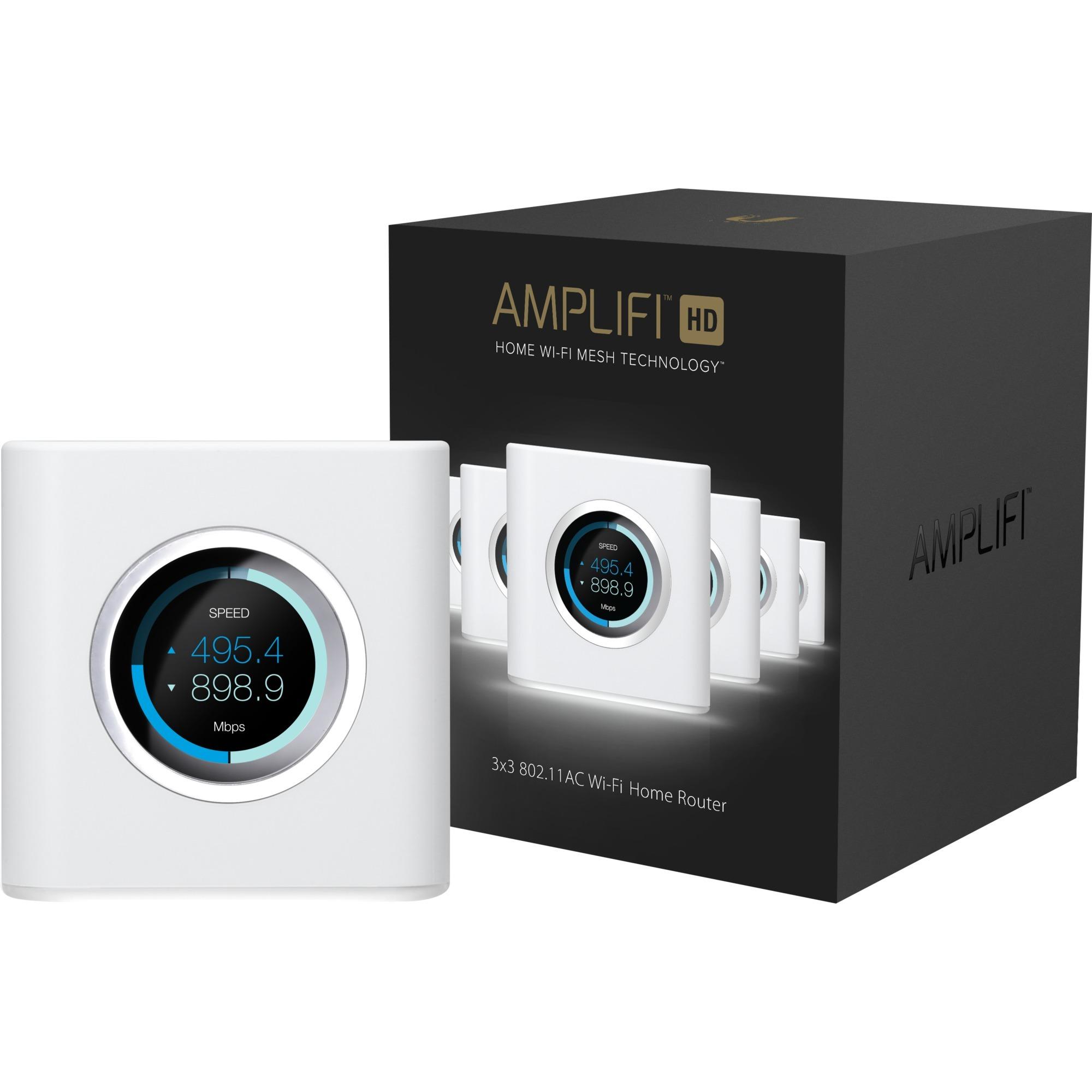 AmpliFI HD Mesh Router router inalámbrico Doble banda (2,4 GHz / 5 GHz) Gigabit Ethernet Blanco, Enrutador de malla