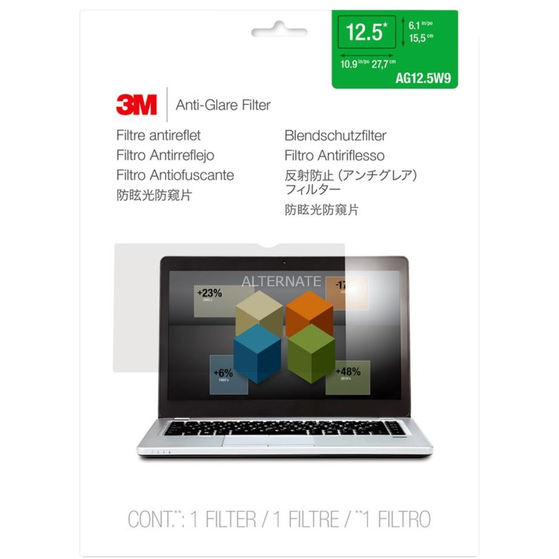 """Filtro antirreflejos AG12.5W9 de para ordenadores portátiles con pantalla panorámica de 12,5"""", Protección contra deslumbramiento"""