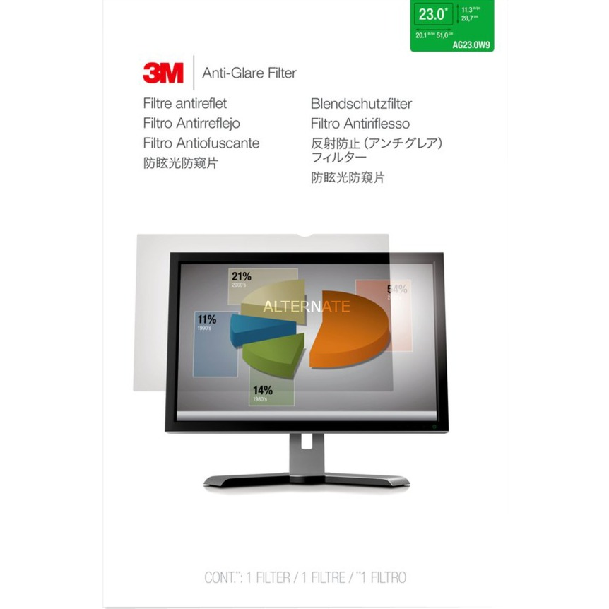 """Filtro antirreflejos de para monitor de escritorio con pantalla panorámica de 23"""", Protección contra deslumbramiento"""