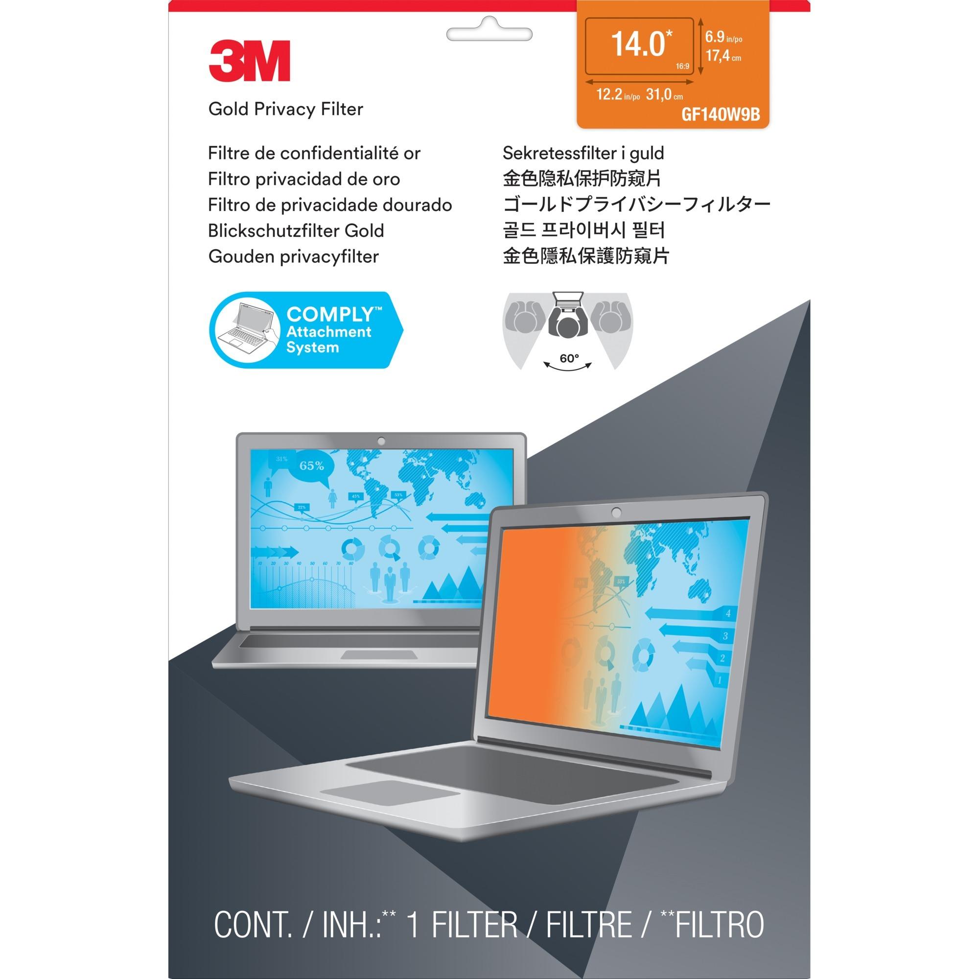 Filtro de privacidad Gold GPF14.0W9 de para ordenadores portátiles con pantalla panorámica...