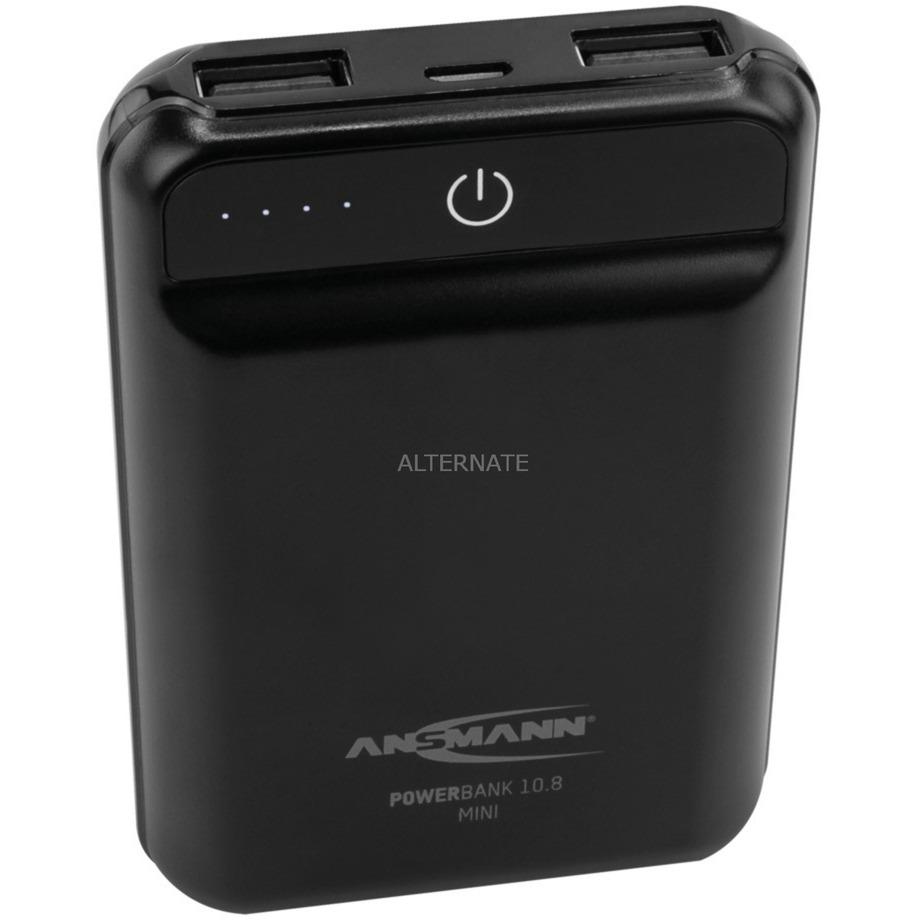 10.8 mini batería externa Negro Polímero de litio 10000 mAh, Banco de potencia