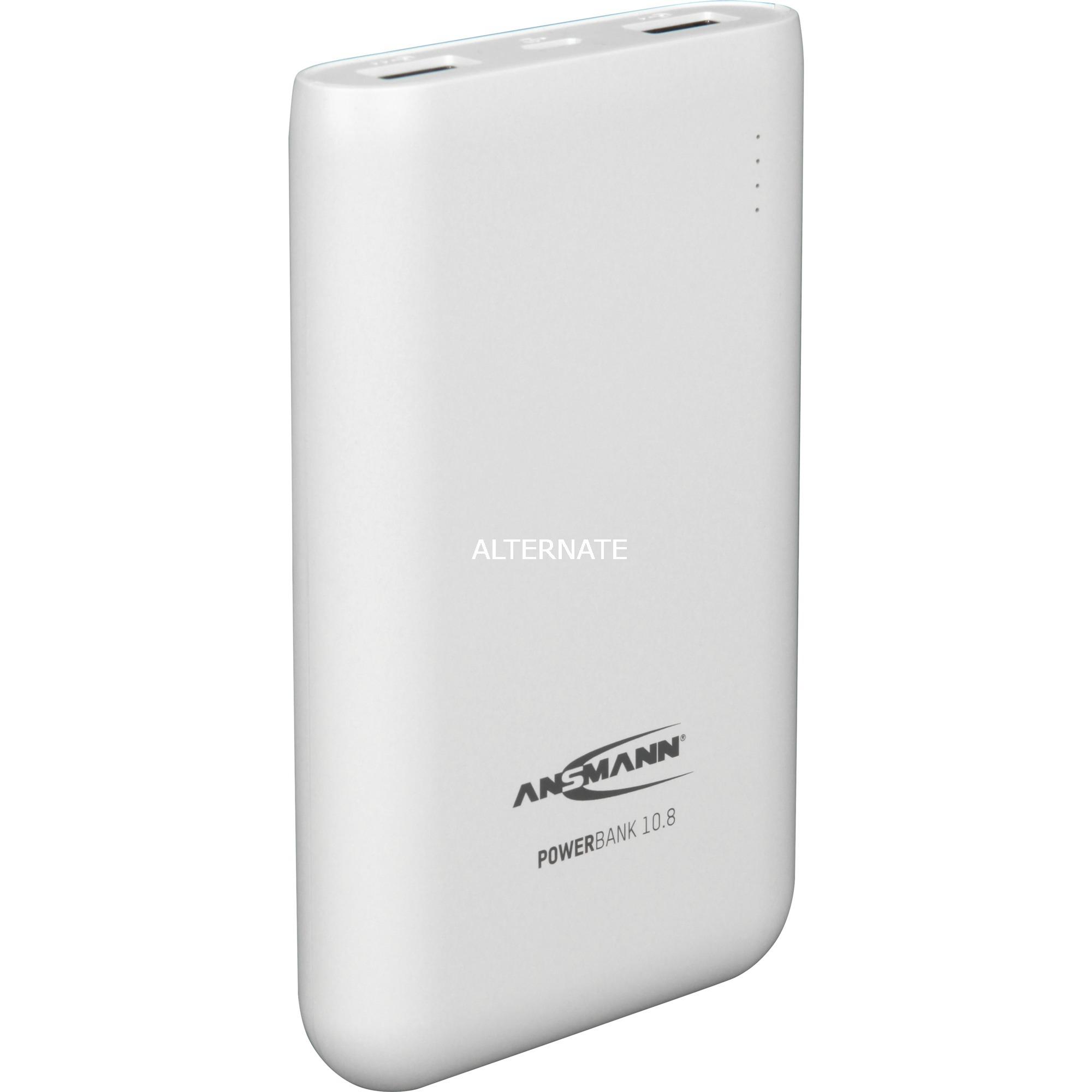 10.8w batería externa Blanco Ión de litio 10000 mAh, Banco de potencia