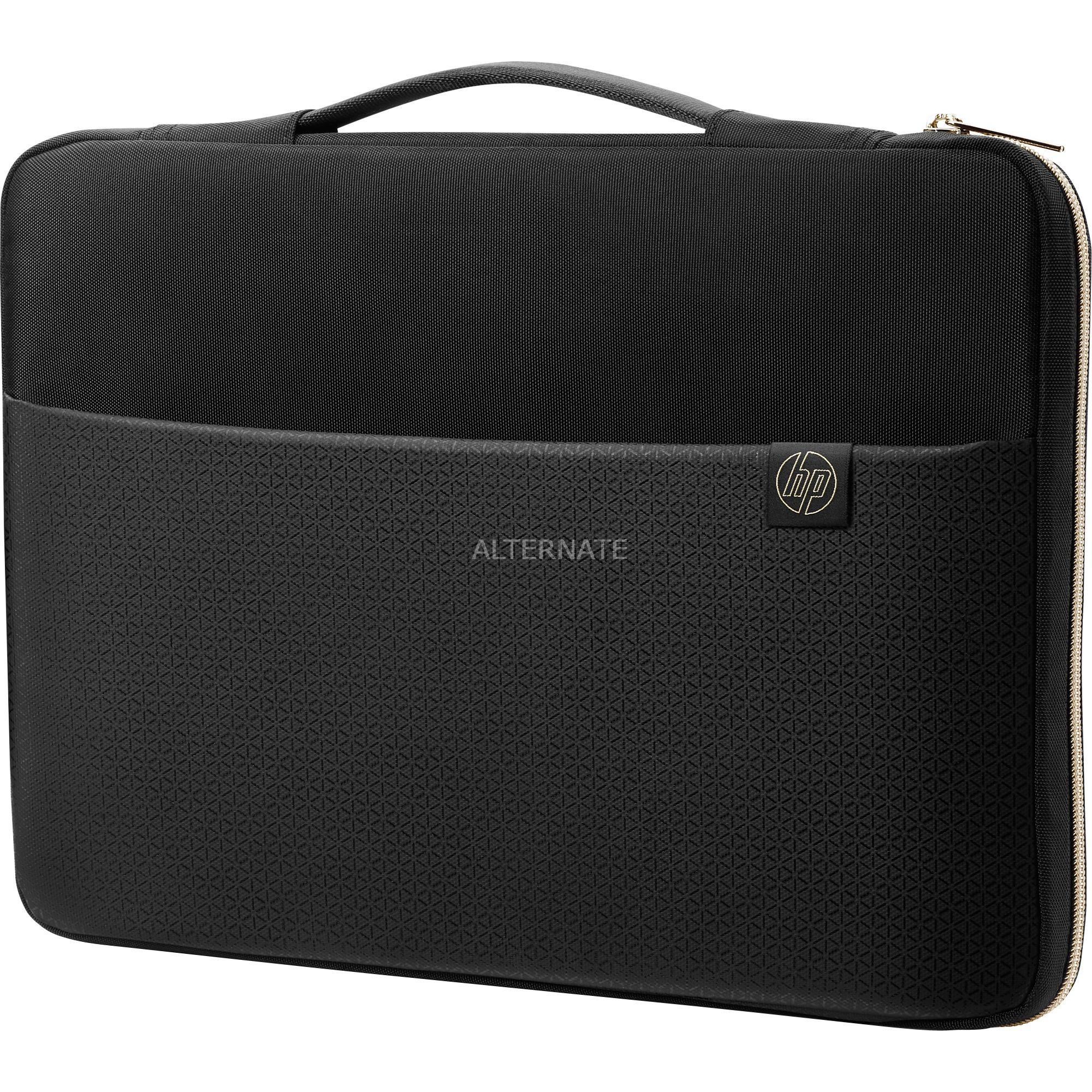 "14"" Carry Sleeve Black/Gold maletines para portátil 35,6 cm (14"") Funda Negro, Oro, Cubierta"