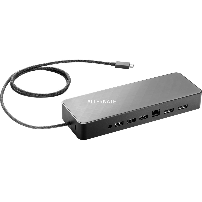 2UF95AA base para portátil y replicador de puertos USB 3.0 (3.1 Gen 1) Type-C Negro, Estación de acoplamiento