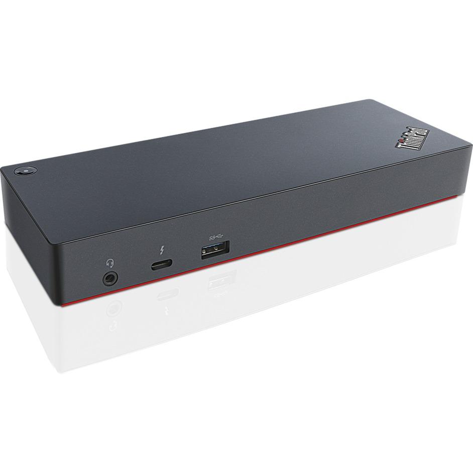 40AC0135EU base para portátil y replicador de puertos Thunderbolt 3 Negro, Estación de acoplamiento