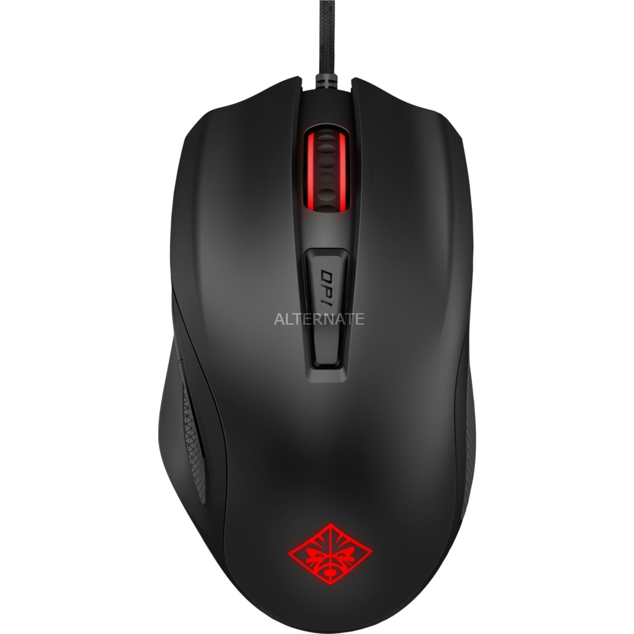 600 ratón USB Óptico 12000 DPI mano derecha Negro, Rojo