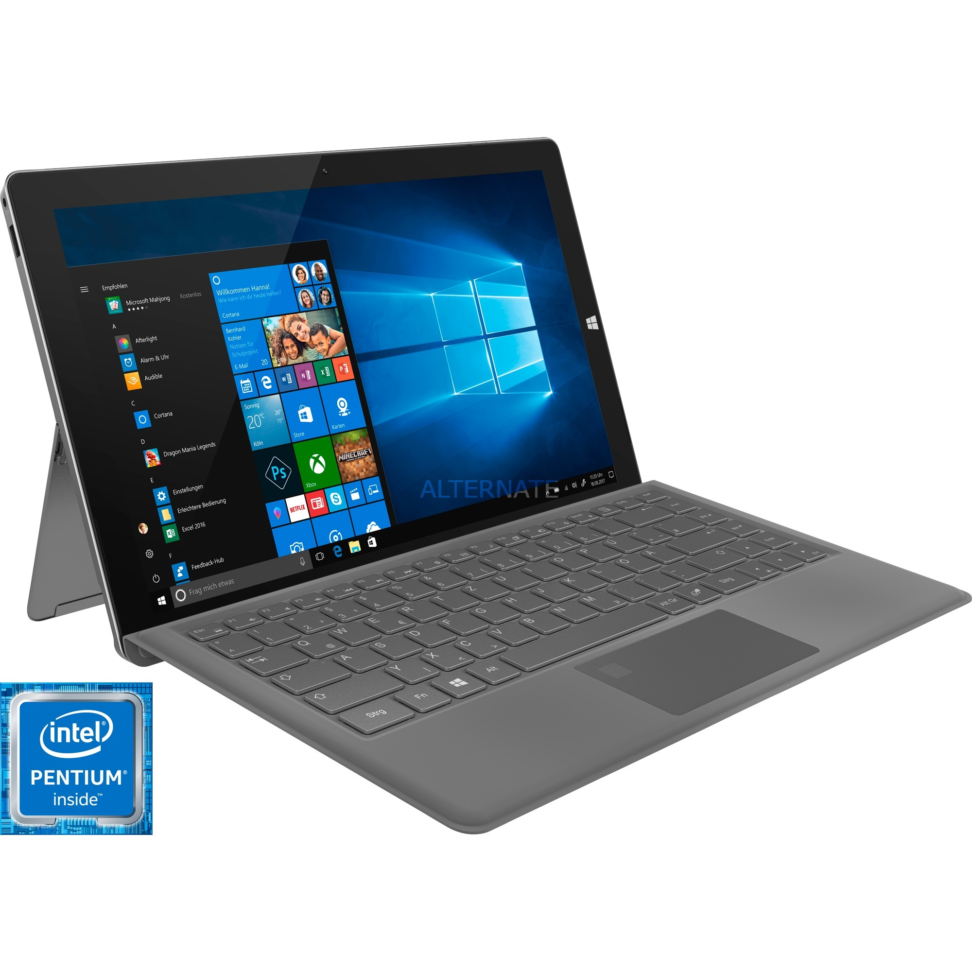 "T13B-PO Negro, Gris Híbrido (2-en-1) 33,8 cm (13.3"") 1920 x 1080 Pixeles Pantalla táctil 1,10 GHz Intel Pentium N4200, Tablet PC"