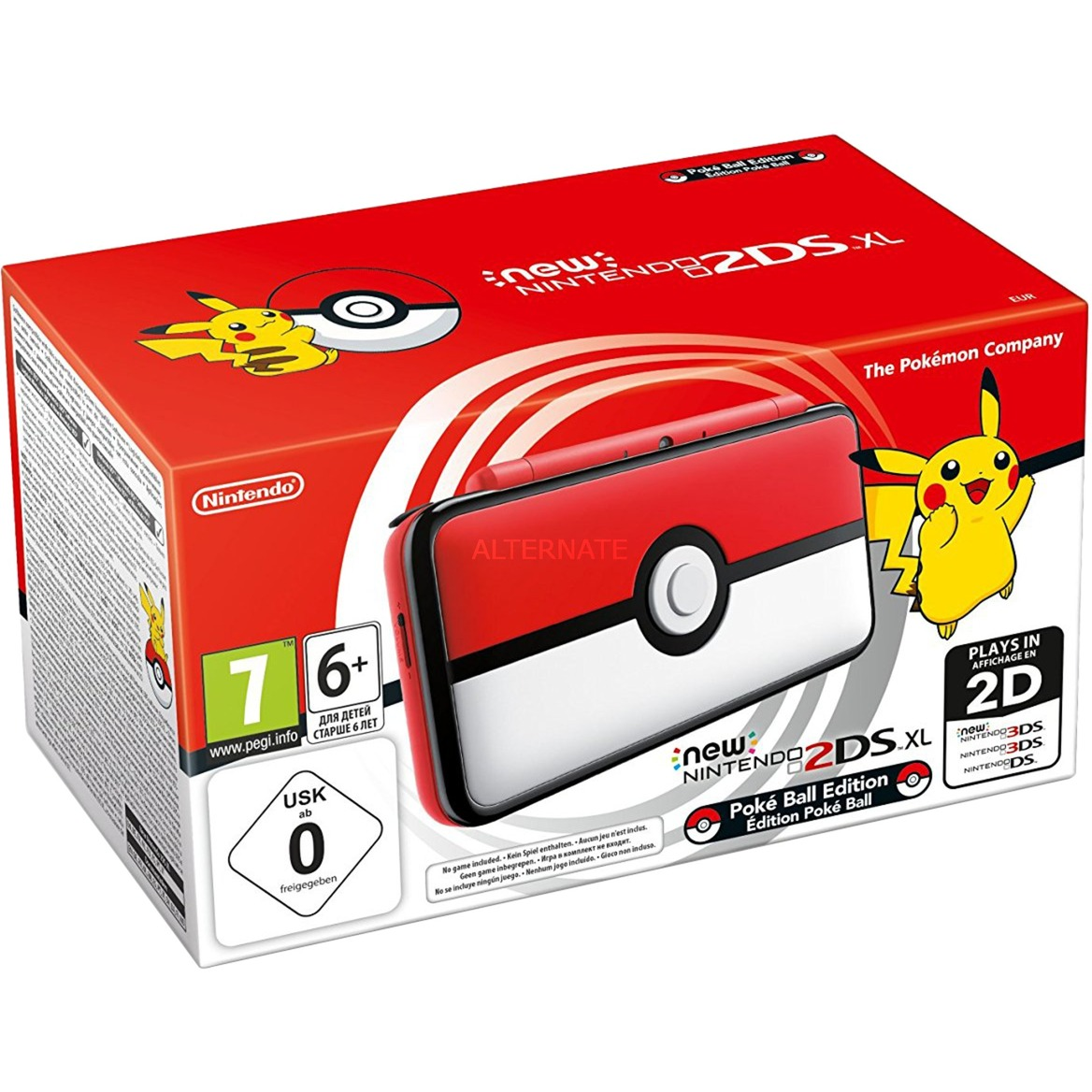 "New 2DS XL Poké Ball Edition 4.88"" Pantalla táctil Wifi Negro, Rojo, Blanco videoconsola portátil"