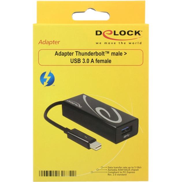 0.15m Thunderbolt/USB3.0-A Thunderbolt USB 3.0 A Negro adaptador de cable, Adaptador USB