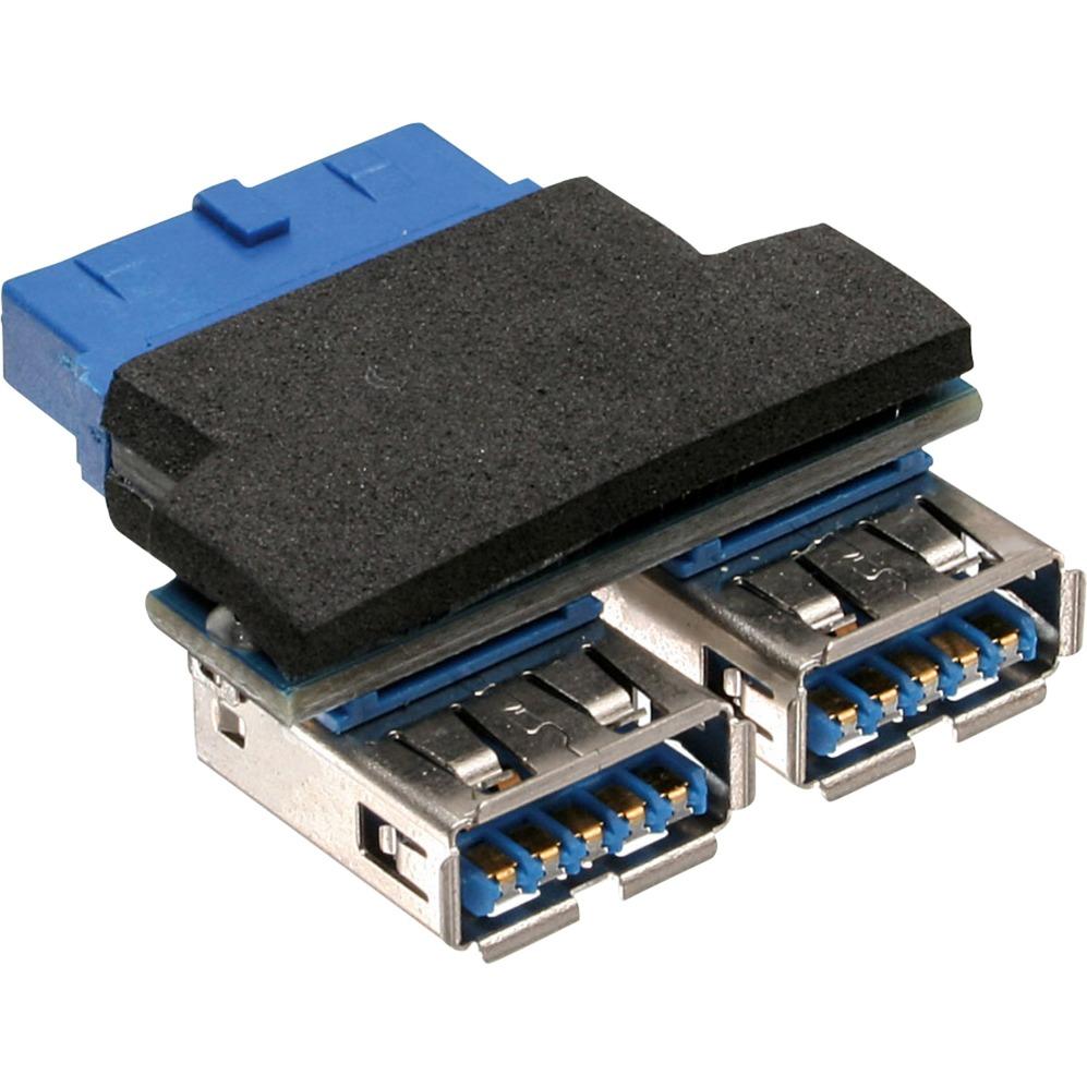 33444I 2x USB 3.0 A 19-pin USB 3.0 Negro, Azul adaptador de cable