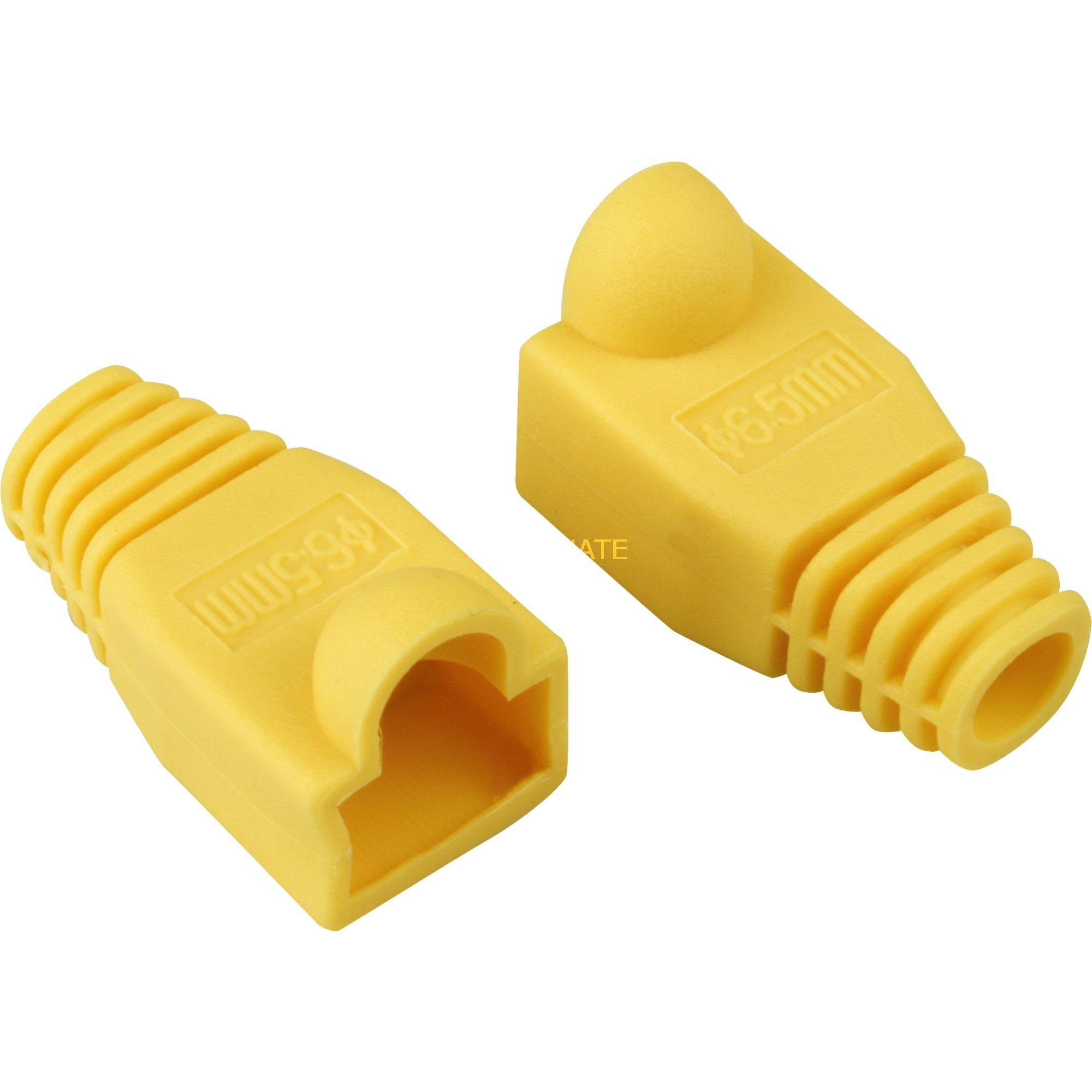 Strain relief boot for RJ45 plugs abrazadera para cable Amarillo, Doble protección
