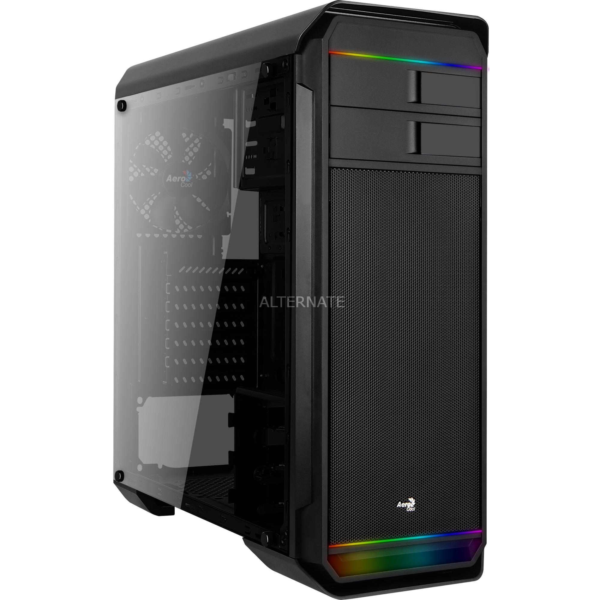 AERO500G RGB BK Midi-Tower Negro carcasa de ordenador, Cajas de torre