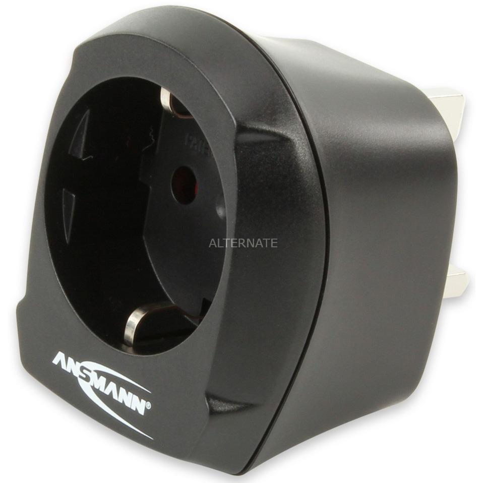 1250-0001 adaptador de enchufe eléctrico Tipo D (RU) Tipo F Negro