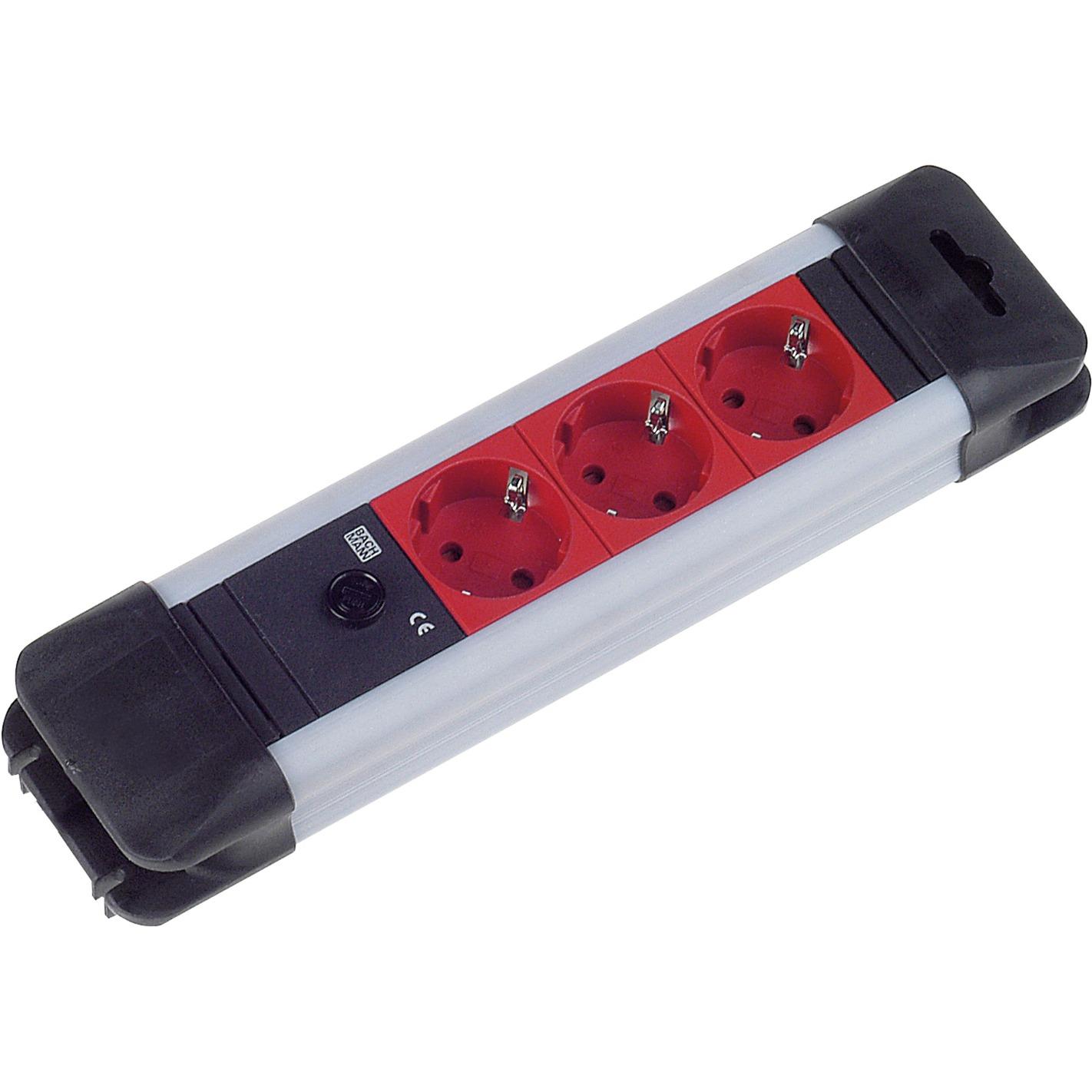 2m 3x Schuko H05VV-F 3G 1.0mm2 3AC outlet(s) 2m Negro, Rojo base múltiple, Regleta