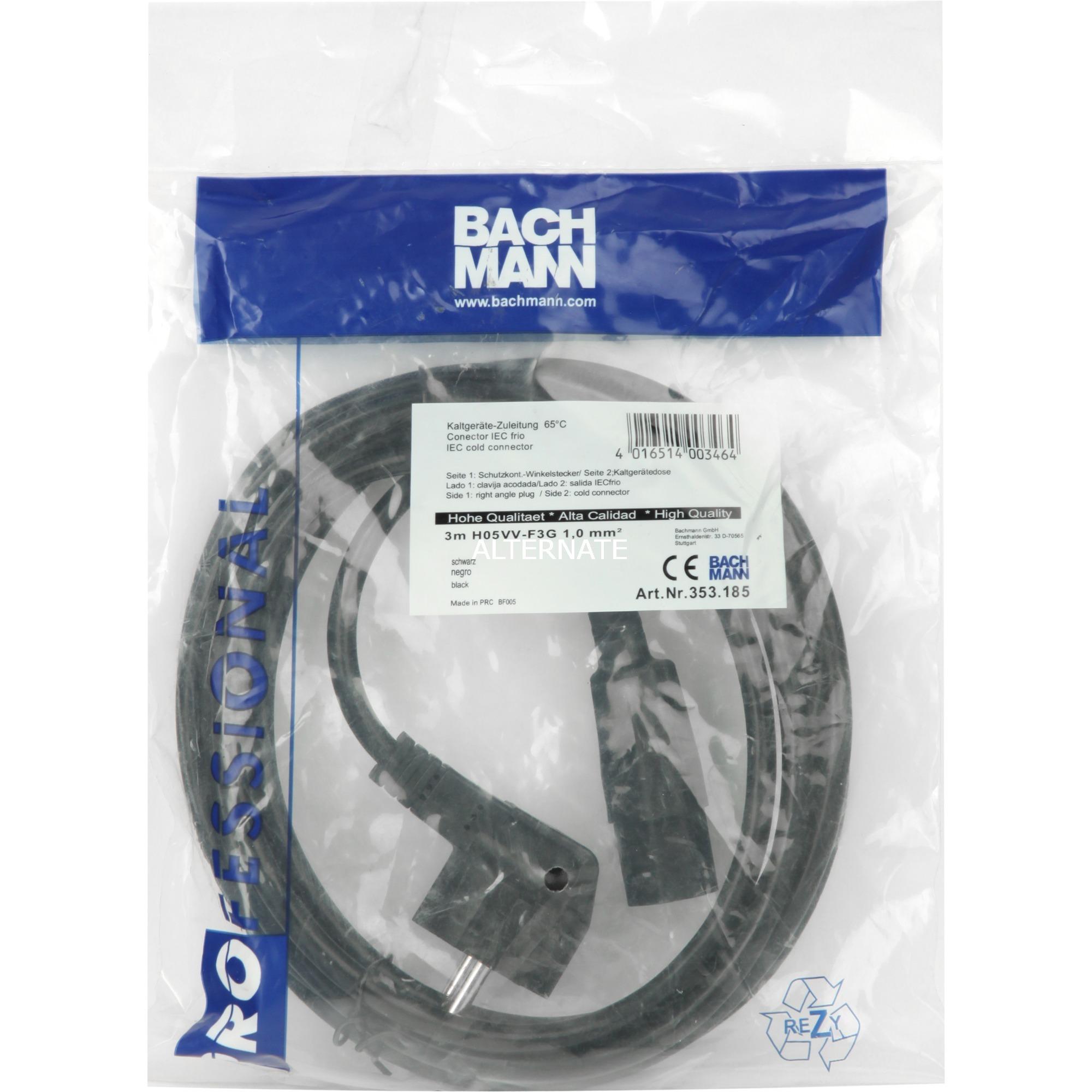 353.185 3m Enchufe tipo F C13 acoplador Negro cable de transmisión