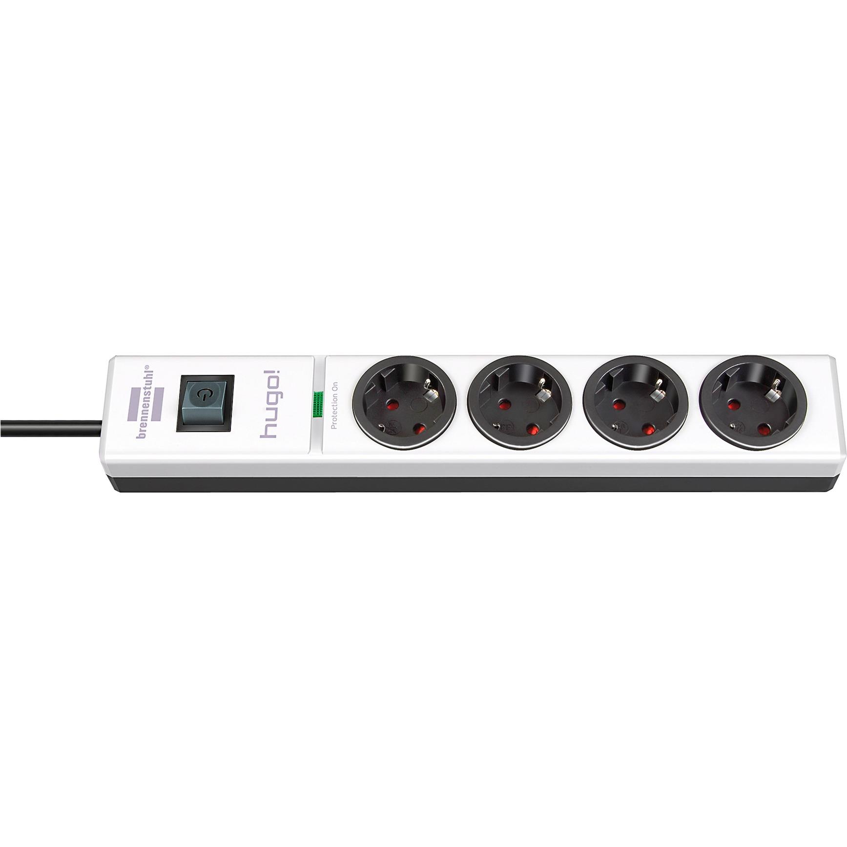 1150610304 4AC outlet(s) 2m Negro, Color blanco limitador de tensión, Regleta