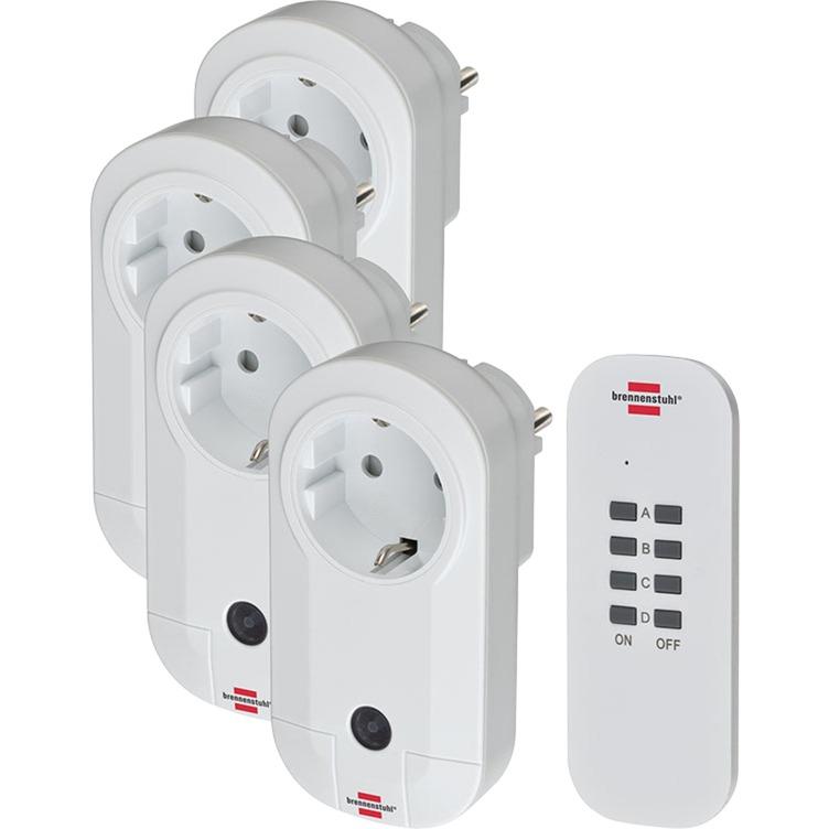 1507050 Blanco adaptador de enchufe eléctrico, Toma de corriente con interruptor