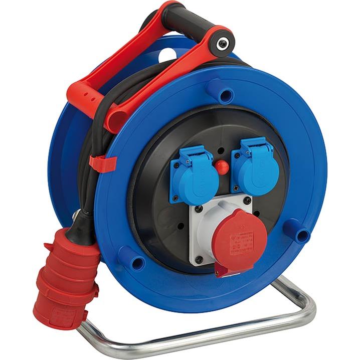 30m H07RN-F 5G1,5 base múltiple 3 salidas AC Negro, Azul, Rojo, Blanco, Enrrollacables