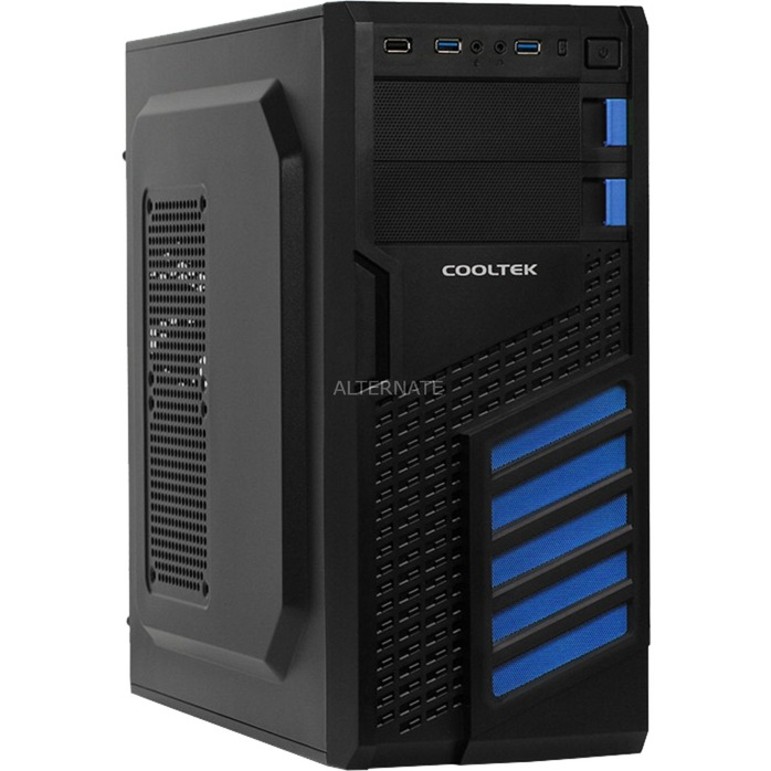KX carcasa de ordenador Midi-Tower Negro, Azul, Cajas de torre
