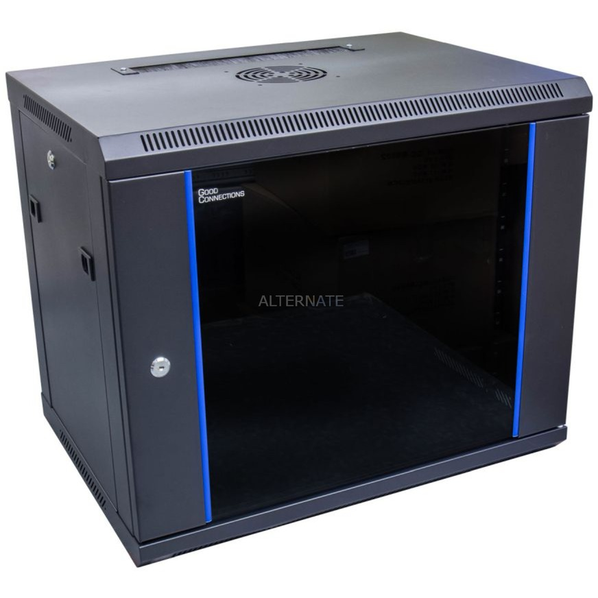 GC-R0007 armario rack 9U Bastidor de pared Negro, Azul, Armario IT