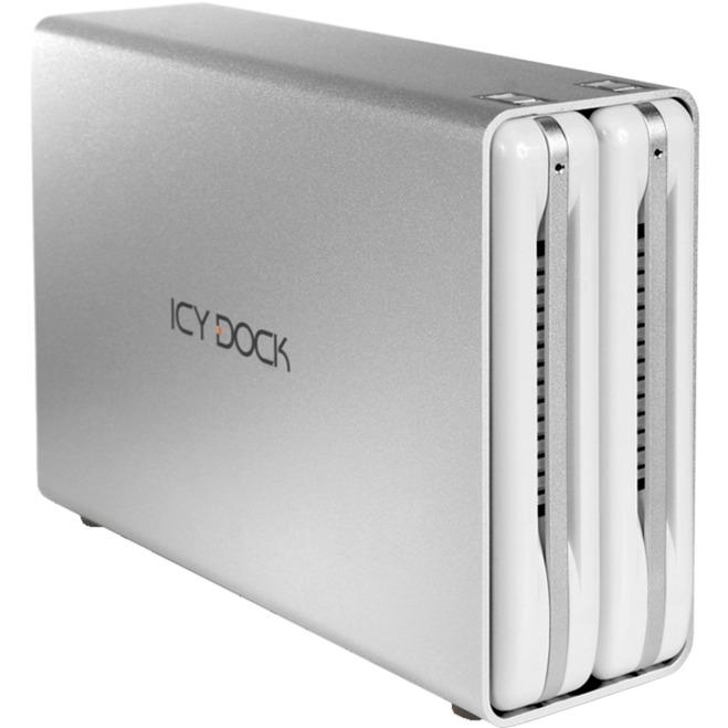 """ICYRaid MB662U3-2S R1 HDD enclosure 3.5"""" Plata, Blanco, Caja de unidades"""