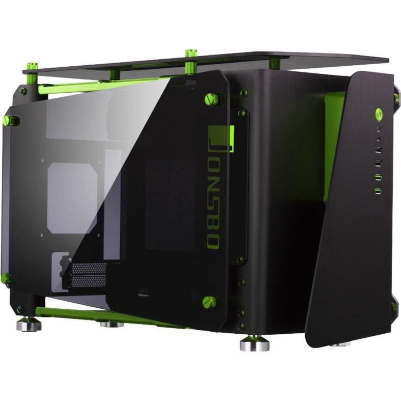 MOD1-MINI carcasa de ordenador ITX-Tower Negro, Verde, Cajas de torre