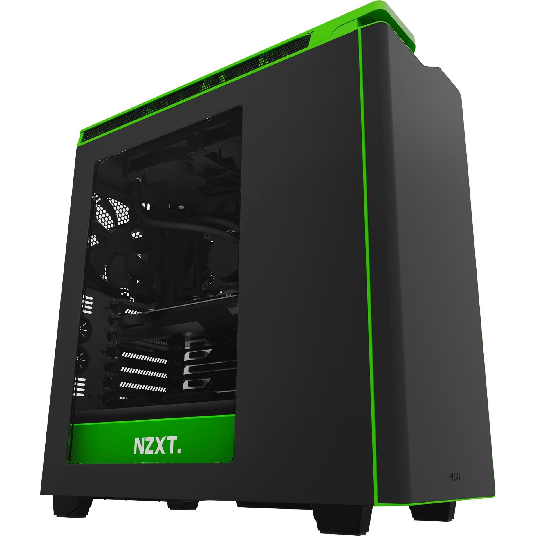 CA-H442W-M9 Midi-Tower Negro, Verde carcasa de ordenador, Cajas de torre