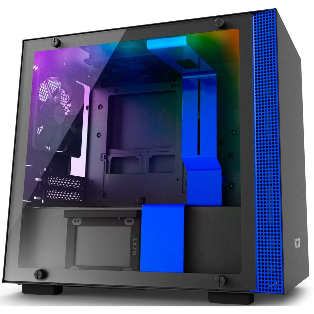 H200i carcasa de ordenador Mini-Tower Negro, Azul, Cajas de torre