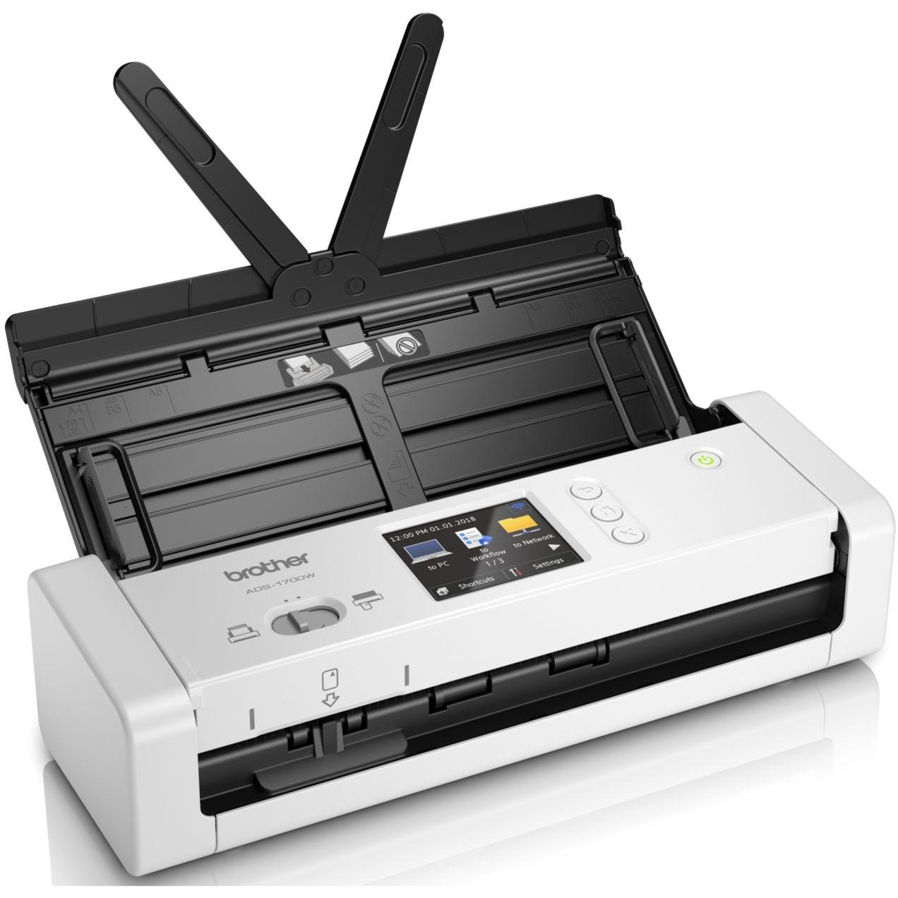 ADS-1700W escaner 600 x 600 DPI Escáner con alimentador automático de documentos (ADF) Negro, Blanco A4, Escáner de alimentación de hojas