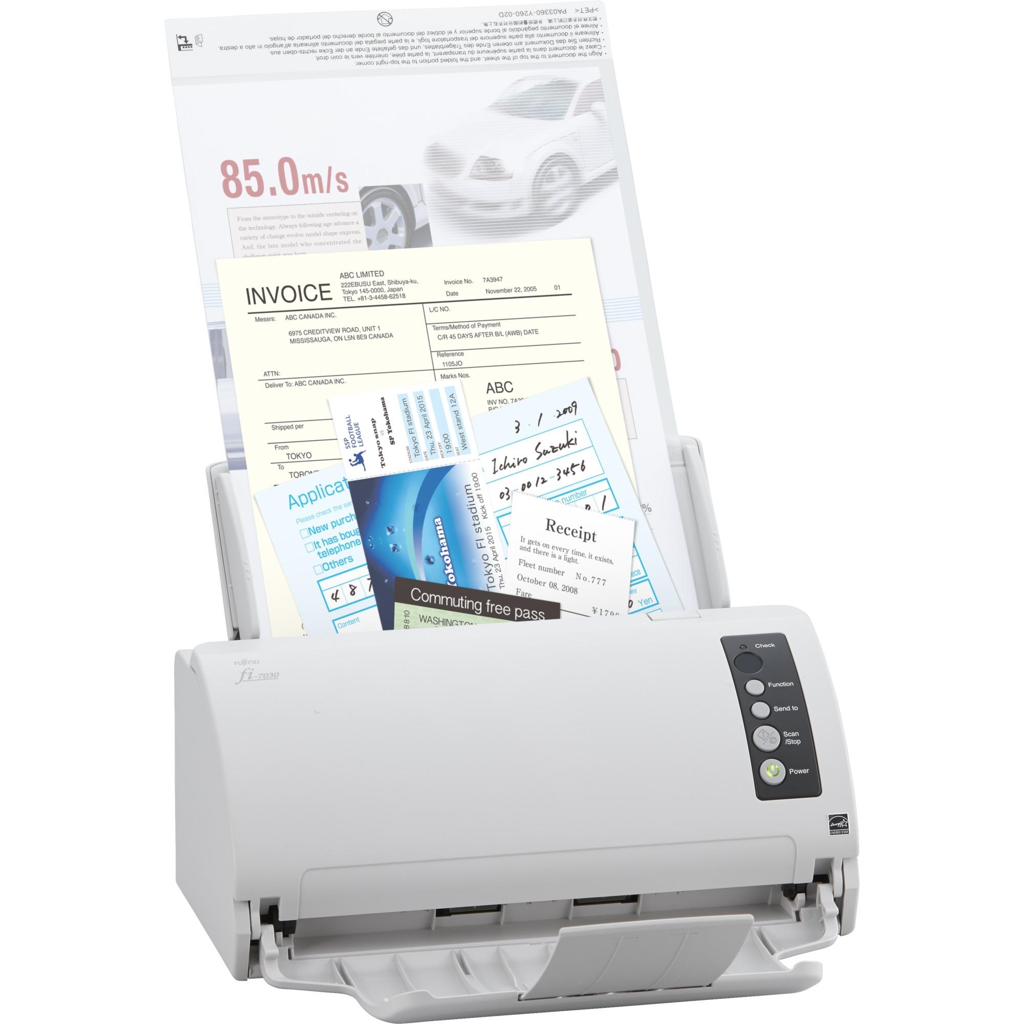 fi-7030 600 x 600 DPI Escáner con alimentador automático de documentos (ADF) Blanco A4, Escáner de alimentación de hojas