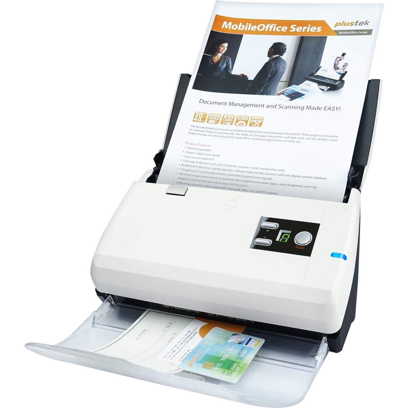 SmartOffice PS30D Escáner con alimentador automático de documentos (ADF) 600 x 600DPI A4 Negro, Blanco, Escáner de alimentación de hojas