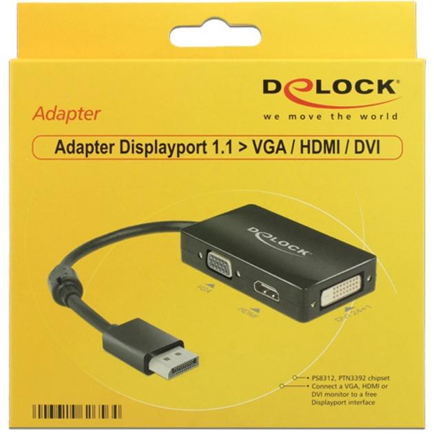 0.16m DisplayPort/VGA+HDMI+DVI 0.16m DisplayPort VGA + HDMI + DVI Negro, Cable