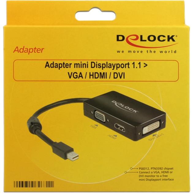 0.16m DisplayPort/VGA + HDMI + DVI 0,16 m Mini DisplayPort Negro, Adaptador
