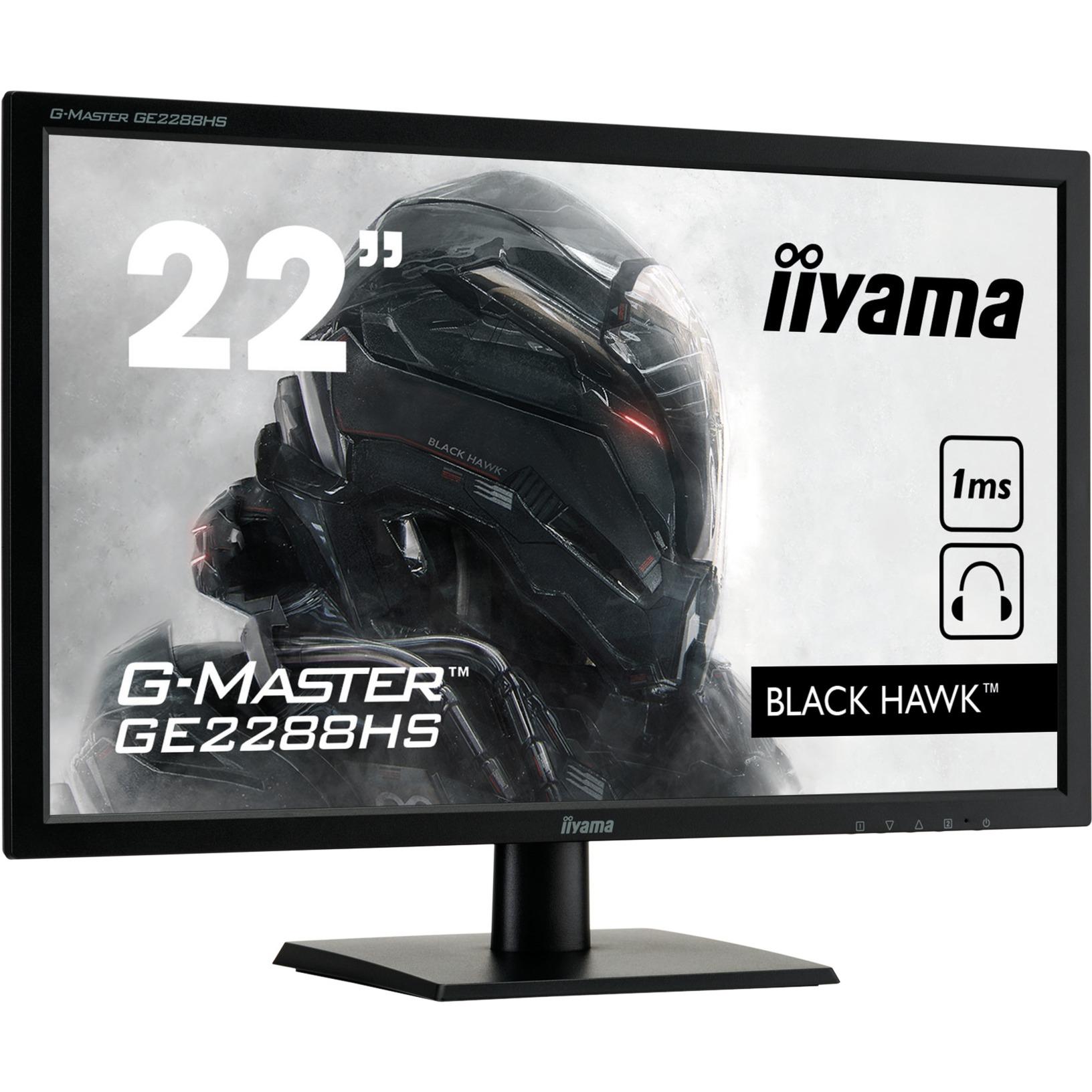 """G-MASTER GE2288HS 55CM 21.5IN TN 21.5"""" Full HD LED Mate Plana Negro pantalla para PC, Monitor LED"""