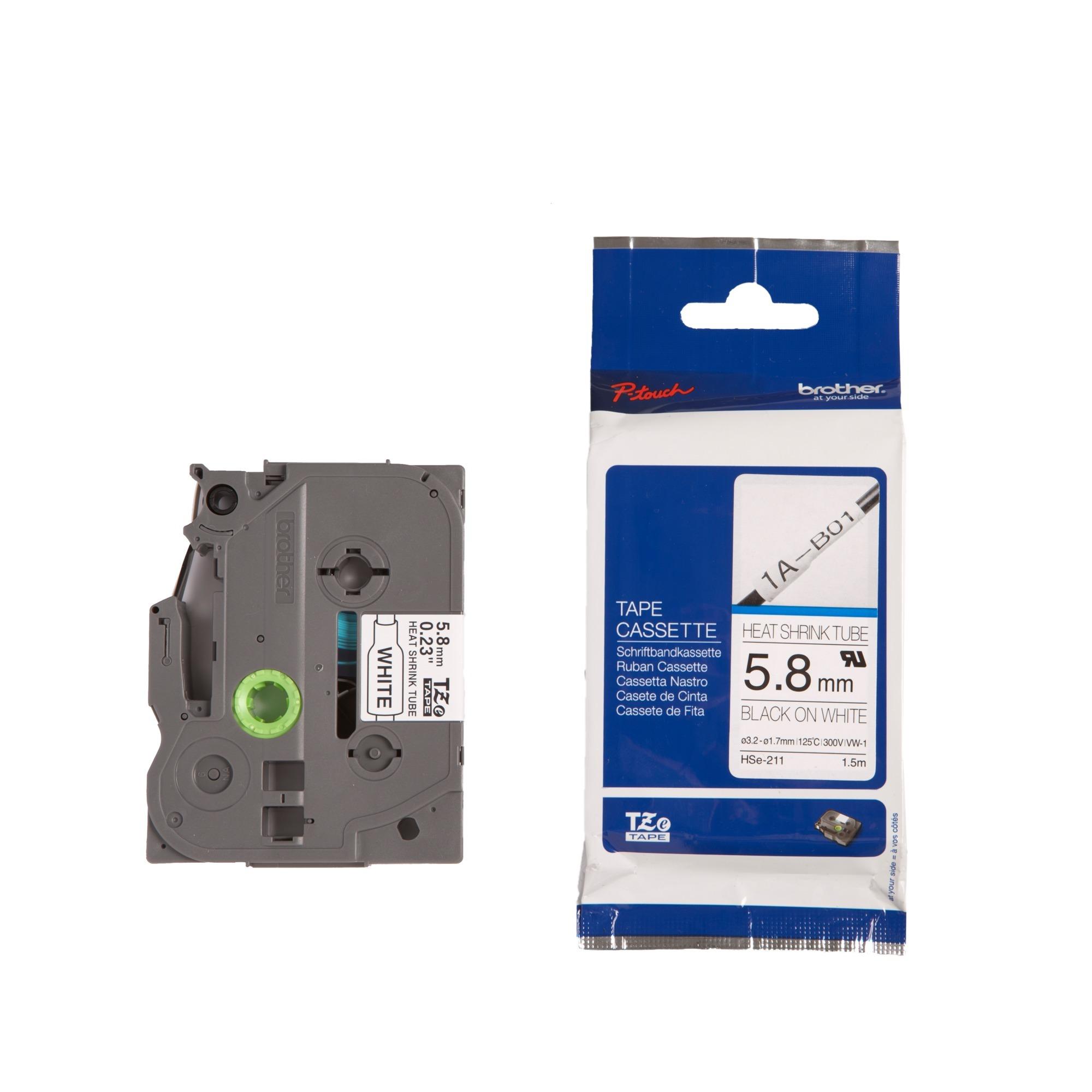 HSE-211 TZe cinta para impresora de etiquetas, Tubo termoretráctil para etiquetas