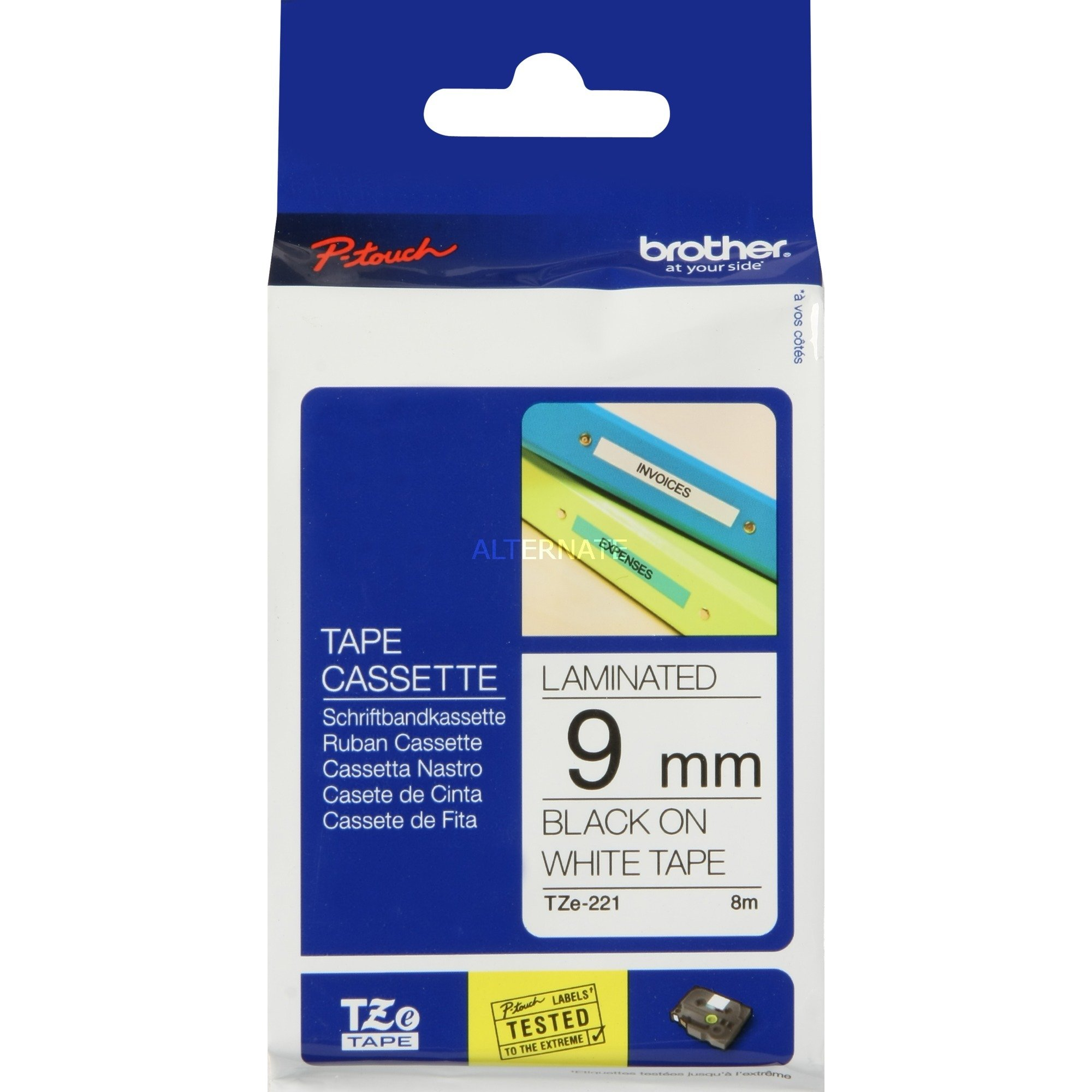 TZe-221 cinta para impresora de etiquetas Negro sobre blanco, Cinta de escritura