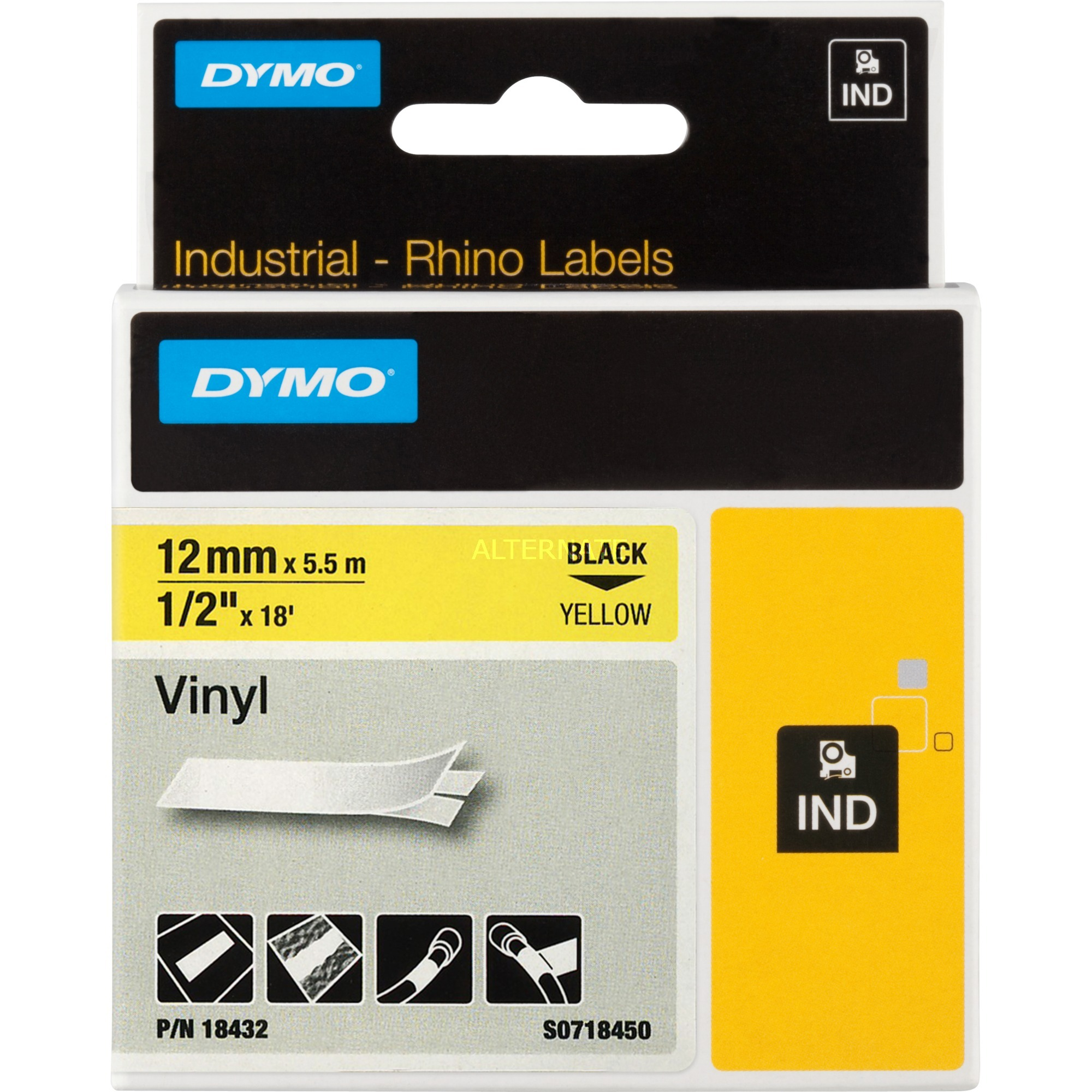 12mm RHINO Coloured Vinyl D1 cinta para impresora de etiquetas, Cinta de escritura