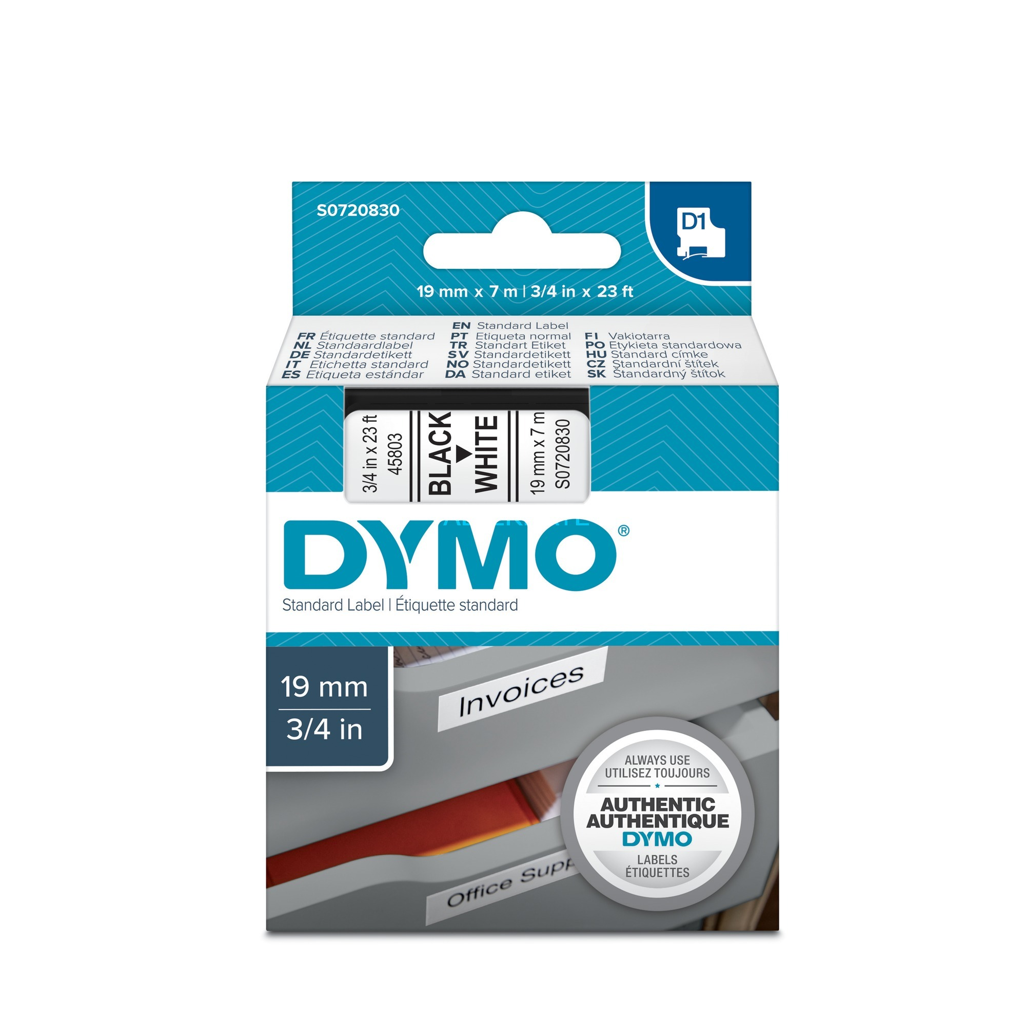 D1 Standard 19mm x 7m D1 cinta para impresora de etiquetas, Cinta de escritura