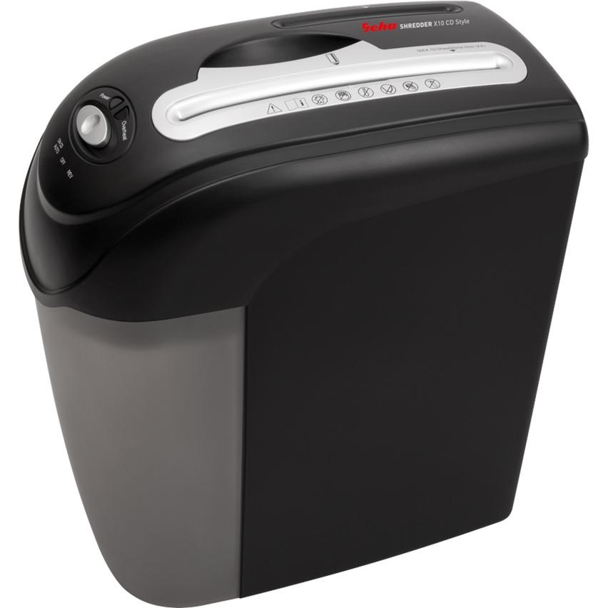 Home & Office X10 CD Style triturador de papel Corte cruzado 22 cm 70 dB Black, Destructora de documentos