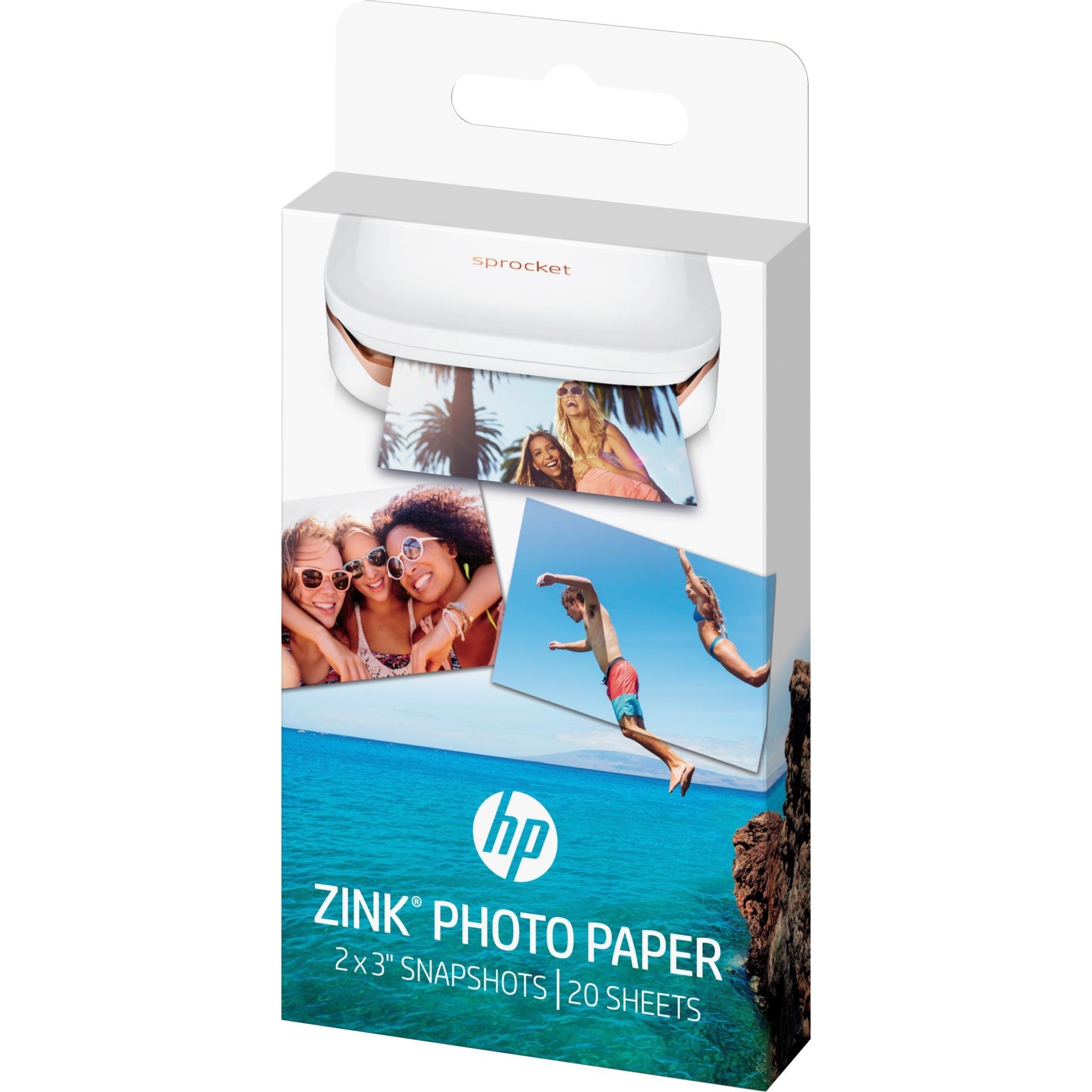 Papel fotográfico adhesivo ZINK de 20 hojas/5 x 7,6 cm (2 x 3 pulg.)