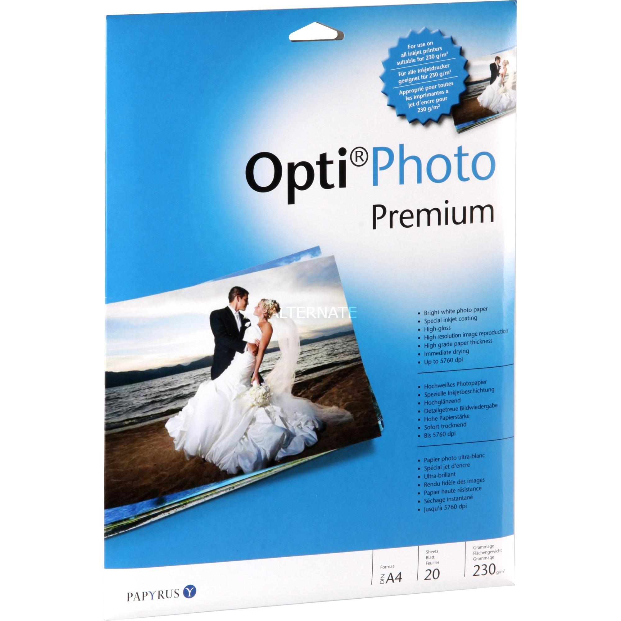 Opti Photo Premium papel fotográfico Blanco De alto brillo A4
