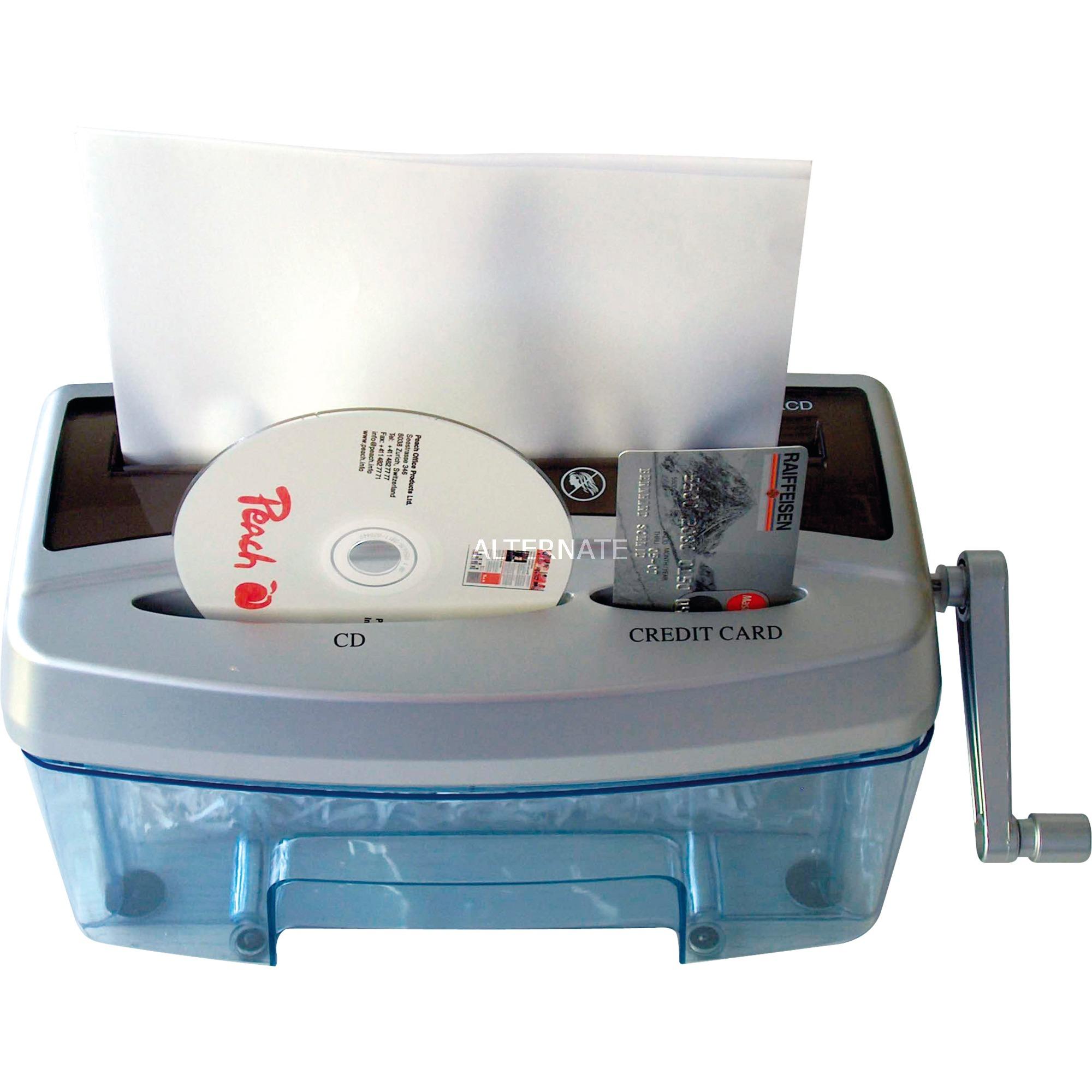 PS300-21 triturador de papel Corte cruzado 21 cm Negro, Azul, Gris, Destructora de documentos