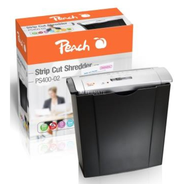 PS400-02 triturador de papel Strip shredding 22 cm 72 dB Negro, Plata, Destructora de documentos